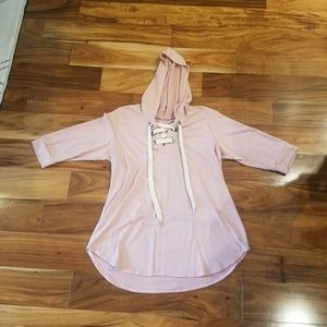 Lightweight Hooded Sweater with Lace Up Neck